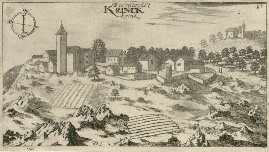 Village Kringa in Istria, Croatia. Birthplace of Jure Grando, first European vampire. By Johann Weikhard von Valvasor