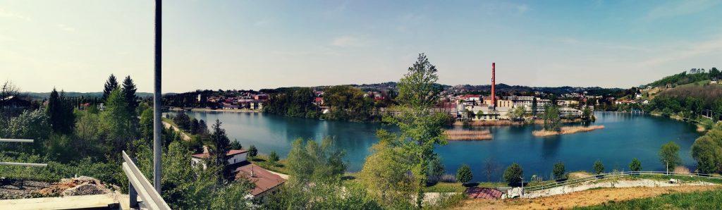 Panorama of Duga Resa city near Karlovac, Croatia, and river Mrežnica.