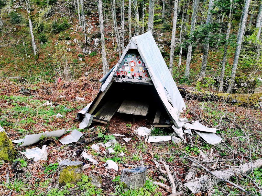 Wooden shack at the start of trail to White rocks near Ogulin, Croatia.