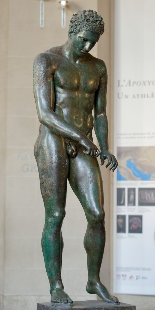 Statue of Greek Apoxyomenos in Mali Lošinj island, Croatia