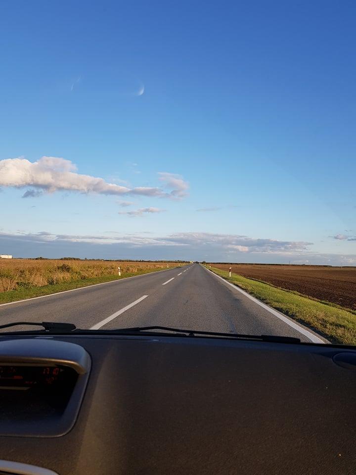Empty, straight road.