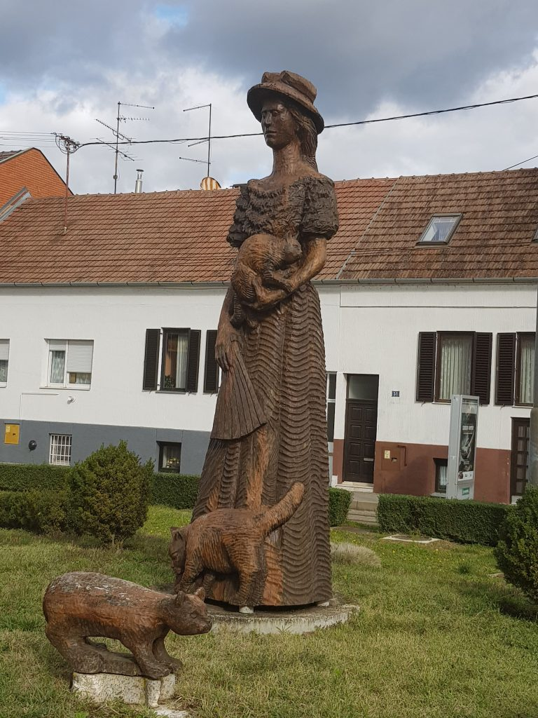 Catmother monument in Osijek, Croatia