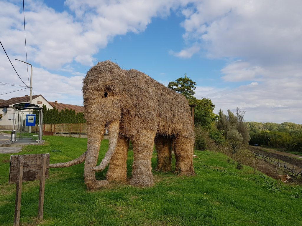Straw sculptures of mammoth, cave hyena and wooly rhinoceros in Mohovo, Croatia