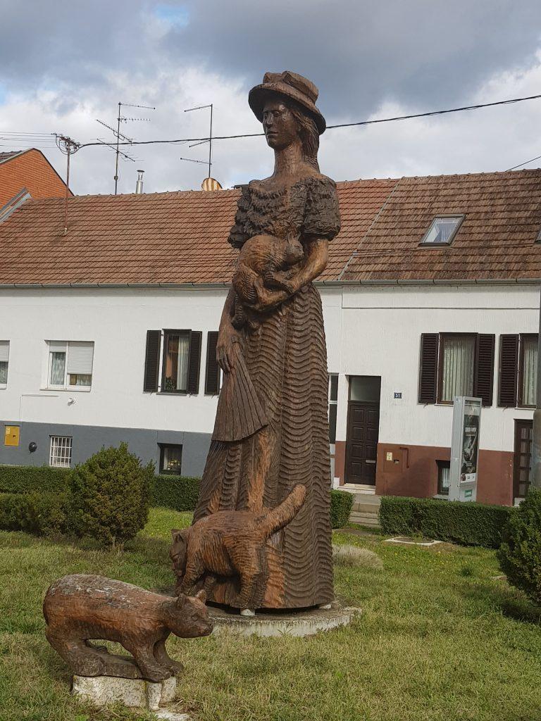 Catmother monument in Osijek, Croatia